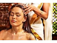 Hair oil, massage and steam. Deeply condition your hair and relieve muscular and mental tension.