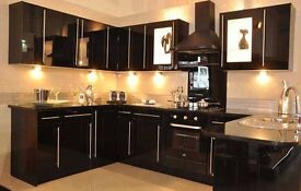 Complete black gloss kitchen for sale including appliances