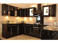 Complete Black Gloss Kitchen for Sale with or Without Appliances