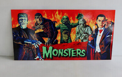 MONSTERS SIGN Frankenstein Mummy Creature Dracula Wolfman halloween modern