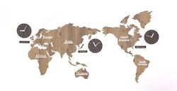 Large World Map Wall Clock Wooden DIY Sticker Puzzle Decor Interior Gift - Brown