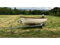 13ft open fibreglass boat, engine & trailer for sale - white