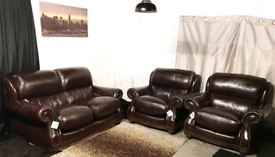 Π Dfs ex display dark brown real leather 2 seater sofa with 2 chairs