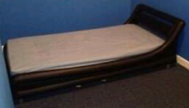 Single leather bed with mattress