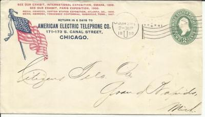 "US SPANISH AMERICAN WAR PATRIOTIC-US FLAG ""American Electric Telephone Co"