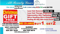 FREE LASER HAIR REMOVAL IN A  SMALL  AREA !  22 Dec - 22 Jan