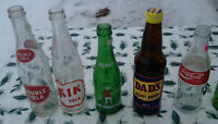 DOUBLE, KIK, DREWRYS, NESBITT, OLD COLONY, STUBBY SODA BOTTLES