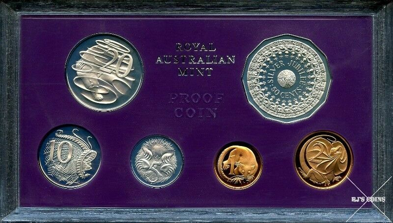 Australian 1977 Proof Six Coin Year Set from the Royal Australian Mint – Silver Jubilee of QE2