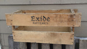 Vintage EXIDE BATTERIES wooden crate box – boite bois