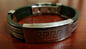 VERSACE Stainless Leather and Bracelet for Men