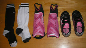 Near New Girl's Soccer Shoes (cleats) Size 2, socks & shin pads