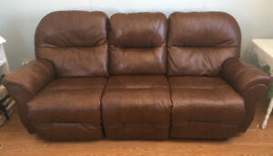 Real leather sofa dual electric recliner