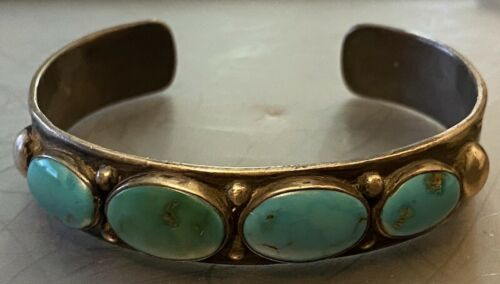 1930s Hand Constructed & Stamped Navajo or Zuni Four Natural Turquoise Bracelet