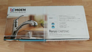 New Moen Renzo CA87316C Chrome One Handle Low Arc Pullout Kitche