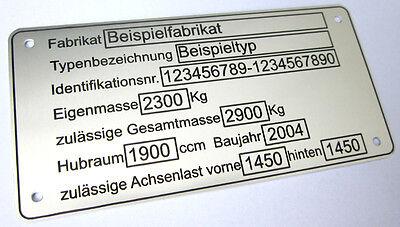 TYPENSCHILD TYPENSCHILDER ANHÄNGER PKW KFZ MOTORRAD MASCHINEN ALUMINIUM NEU ! !