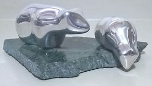 Gordon HOSELTON sandcast Aluminum Polar Bears Sculpture