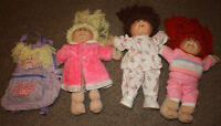 3 Vintage (1980's) Cabbage Patch Dolls and Backpack