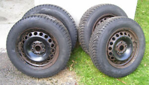 4 Winter Tires 195/65/ R15 on Steel Rims  (Not Studded)