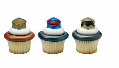 Batman v Superman cupcake rings (24) party favor cake topper 2 dozen party favor