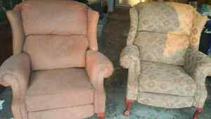 Two recliner wing chairs
