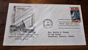 1966 175th Anniversary US Bill of Rights 5 Cent First Day Cover Kitchener / Waterloo Kitchener Area image 1