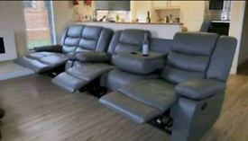 Grey Recliner 3&2 Seater sofa set with cup holders free local delivery