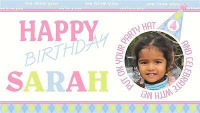 Party Hat Argile Print Birthday Banner Personalized Custom Design Indoor -