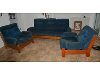 3 Piece Suite Blue on Wooden Frame. 3 Seater Settee. Good Condition