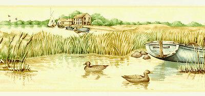 Pond Ducks Mallard Wildlife Lodge Rustic Cabin Boat Reed Willow Wallpaper Border