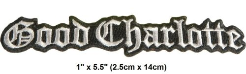 """Vintage 2002 Good Charlotte Die Cut Logo Embroidered Iron-On Patch 2"""" x 4"""" New"""