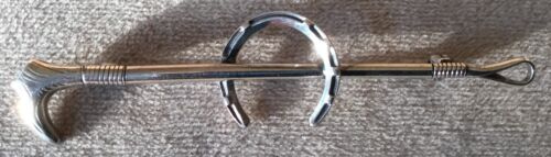 Crop and Horseshoe Sterling Silver Pin Stockpin