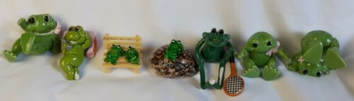 "Cute Lot of 7 Assorted 2"" - 3"" Porcelain Frog Frogs Figurines"