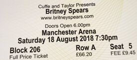 Britney Spears Manchester Piece of Me Concert 1st Row A Block 206 2 Tickets 18th August