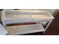 WHITE IKEA LIATORP CONSOLE TABLE WHITE / GLASS - RRP £140