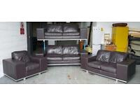 DFS Large Brown Leather 5 Piece Sofa Set 3&3&2&1 Seater&Footstool.WE DELIVER