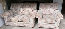 BEAUTIFUL FABRIC 2 SEATER SOFA AND MATCHING CHAIR ULTIMATE COMFORT PLUMP CUSHIONS VERY STURDY SOFA