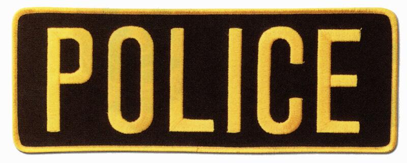 LARGE POLICE BACK PATCH BADGE EMBLEM 11X4 GOLD / BLACK