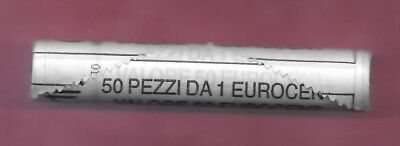 ITALY REP 1 EURO CENTS 2005R UNC ROLL OF 50 COINS,CASTLE DEL MONTE,VALUE AND GLO