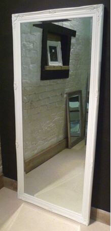 """**LARGE LEANER PARISIAN WHITE SHABBY CHIC ANTIQUE MIRROR** floor - wall - 65"""" x 29"""" - extra x large"""