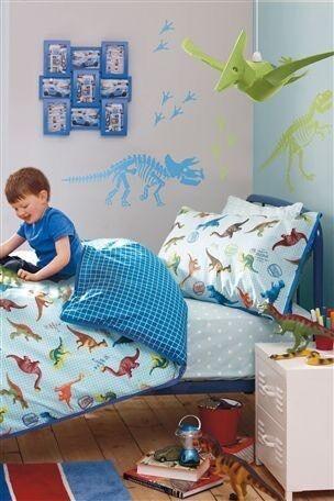 Dinosaur bedding and curtains.