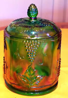 VINTAGE CARNIVAL GLASS CANISTER, PITCHER, PLATES & CANDY DISH