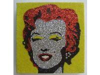 paint, glitter art, Marilyn M.