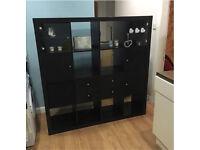 Ikea kallax expedit storage unit shelves bookcase black brown