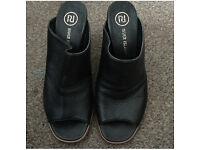 River Island mules heels shoes black size 6 UK
