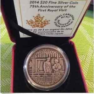 2014 $20 1oz Silver Coin - 75th Ann. of First Royal Visit