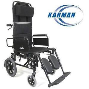 "NEW KARMAN RECLINER WHEELCHAIR Km5000-tp 216352545 W/ TRANSPORT WHEELS 22"" SEAT BLACK FRAME HEALTH"