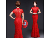 Red lace, chinese wedding dress