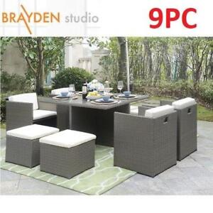 NEW BRAYDEN 9PC DINING SET 8550-9SET-CRM 189784638 ARISTOTLE WITH CUSHIONS PATIO FURNITURE