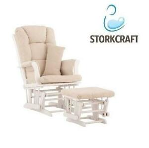 NEW* STORKCRAFT GLIDER AND OTTOMAN 06554-511 225343172 TUSCANY WHITE BEIGE FURNITURE BABY HOME HOUSE