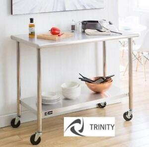"""NEW  STAINLESS STEEL PREP TABLE TLS-0201C 211631733 TRINITY WITH WHEELS 48"""" W x 24"""" D x 38.5"""" H"""
